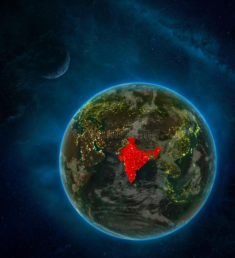 India from space on Earth at night surrounded by space with Moon and Milky Way. Detailed planet with city lights and clouds. 3D. Illustration. Elements of this royalty free illustration