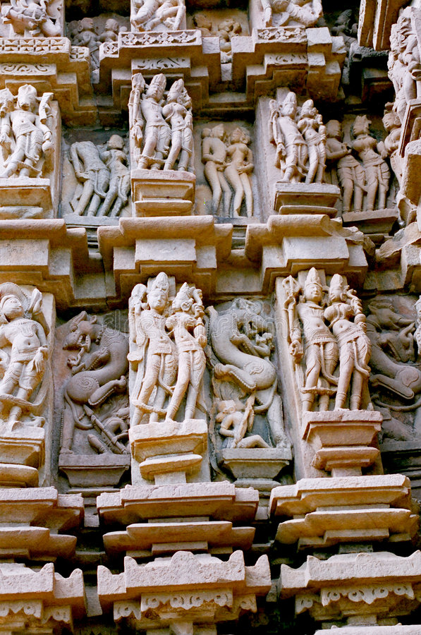 India, Statues in Khajuraho. royalty free stock photography