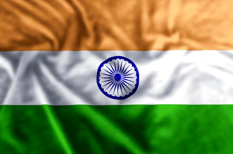 India flag illustration. India waving and closeup flag illustration. Usable for background and texture royalty free illustration