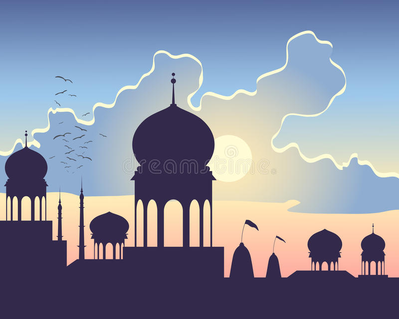 India sundown. An illustration of indian architecture at sundown with hindu temples domes and minarets under a colorful cloudy sky vector illustration