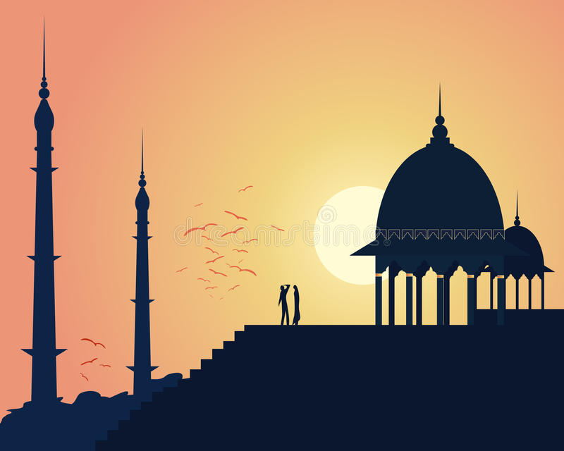 Download India sunset stock vector. Image of india, urban, steps - 28802862