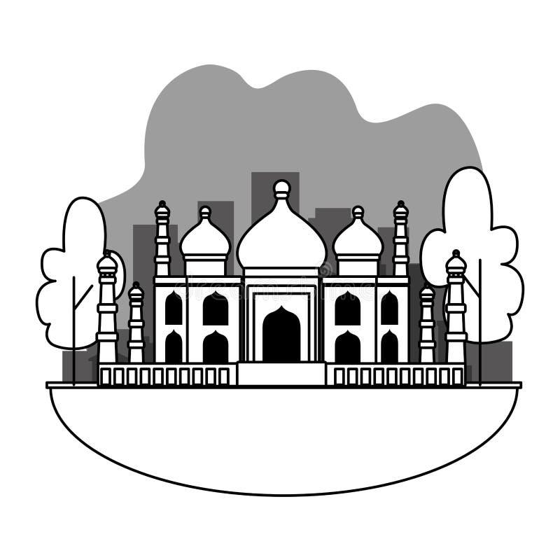 India taj mahal in het stadslandschap in zwart-wit vector illustratie
