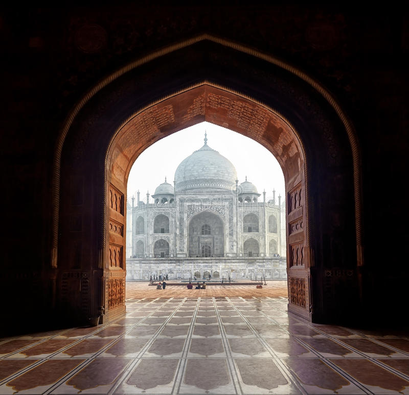 India. Taj Mahal indian palace in Agra. Tajmahal arch view royalty free stock image