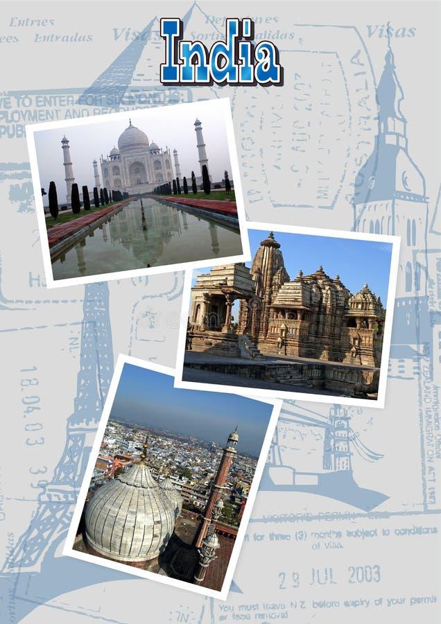 India with Taj Mahal, Jama Masjid and Khajuraho temple royalty free illustration