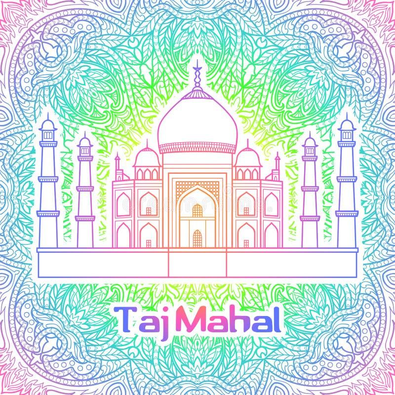 India Taj Mahal. India pattern with Taj Mahal on floral mandala background stock illustration