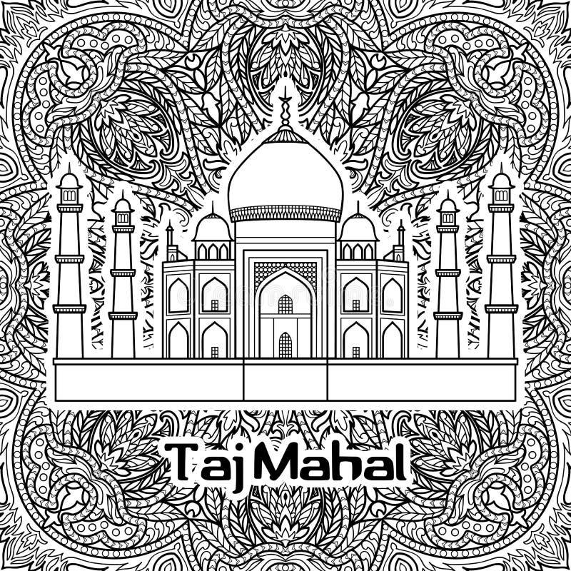 India Taj Mahal. India pattern with Taj Mahal on floral mandala background. Black and white coloring page vector illustration