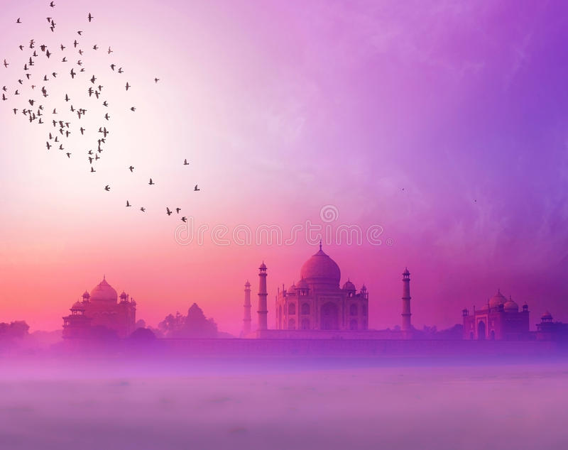 India. Taj Mahal sunset silhouette royalty free stock photos