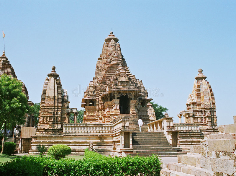 India, Temple in Khajuraho. stock photography