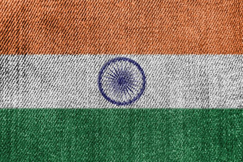 India Textile Industry Or Politics Concept: Indian Flag Denim Jeans. Background Texture royalty free stock photos