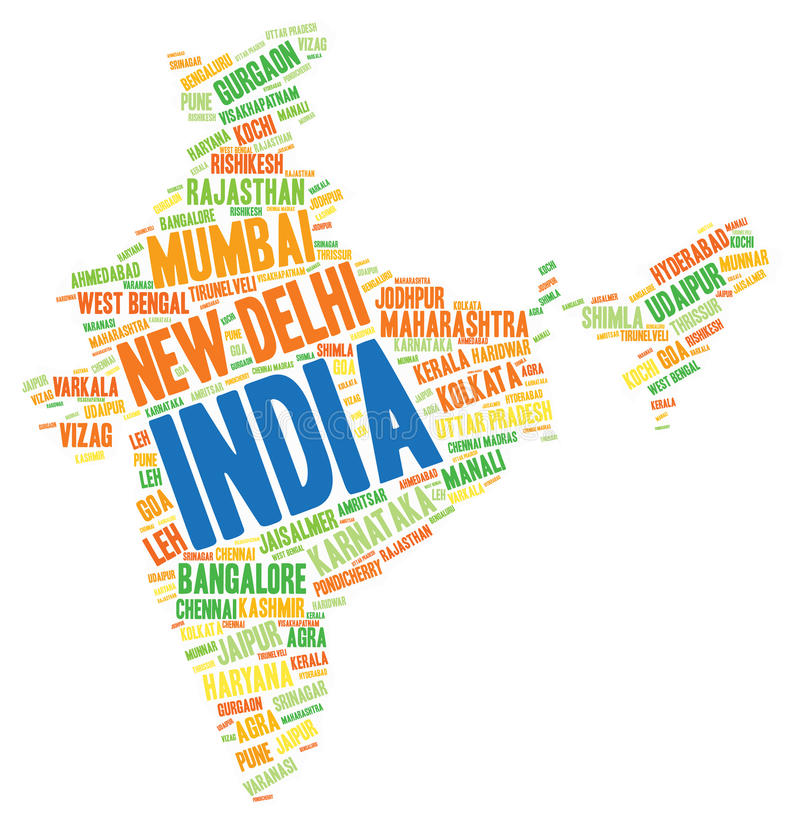 India top travel destinations word cloud. India map silhouette word cloud with most popular travel destinations vector illustration
