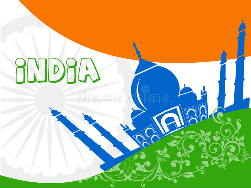 India tourism, india travel with taj mahal agra background royalty free illustration