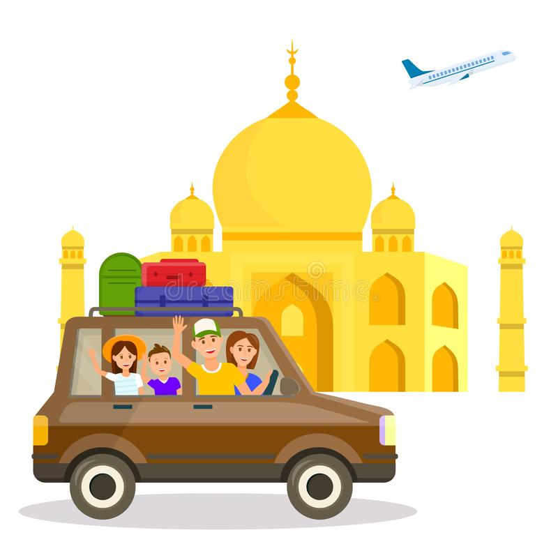 India Tourist Attraction Vector Travel Postcard vector illustration