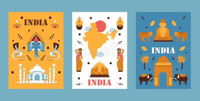 India travel banner, vector illustration. Simple flat design, symbols of Indian culture, tradition, nature and religion. Popular travel destination in Asia stock illustration