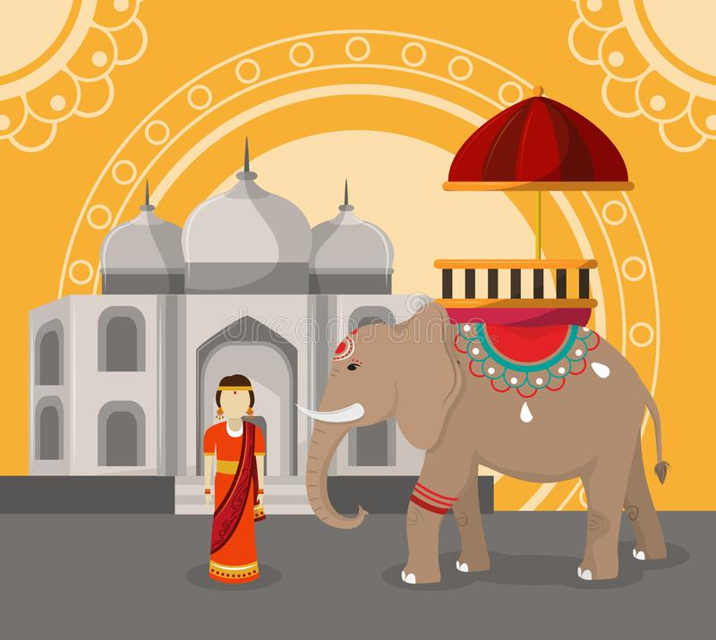 India travel and culture stock illustration