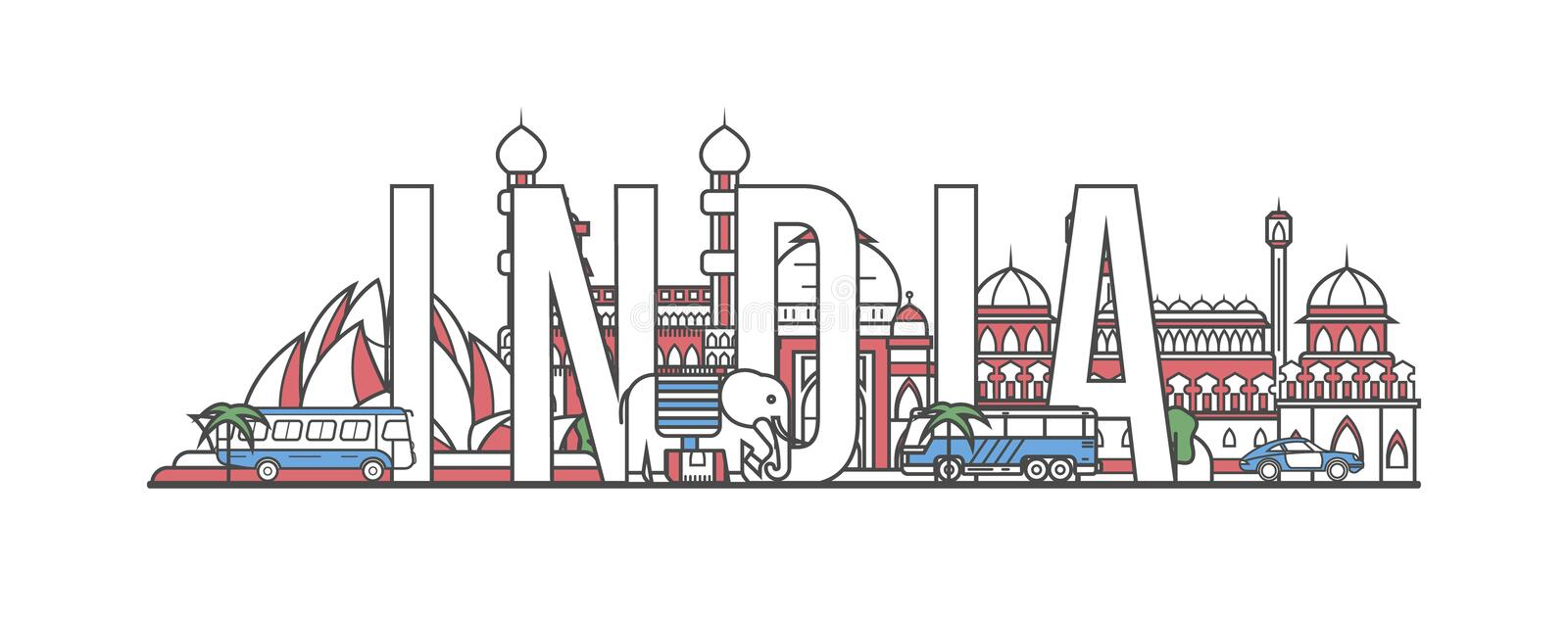 India travel lettering in linear style. India travel lettering with famous architectural monuments in linear style. Worldwide traveling and time to travel vector illustration
