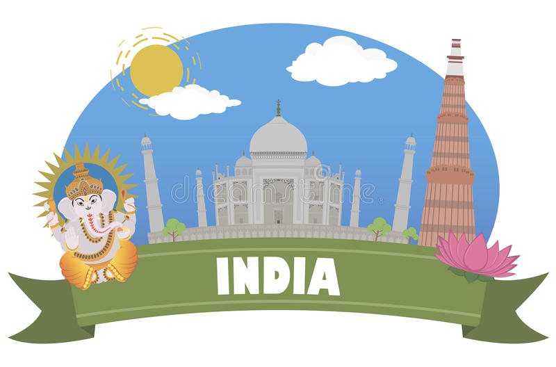 India Turismo e curso ilustração royalty free