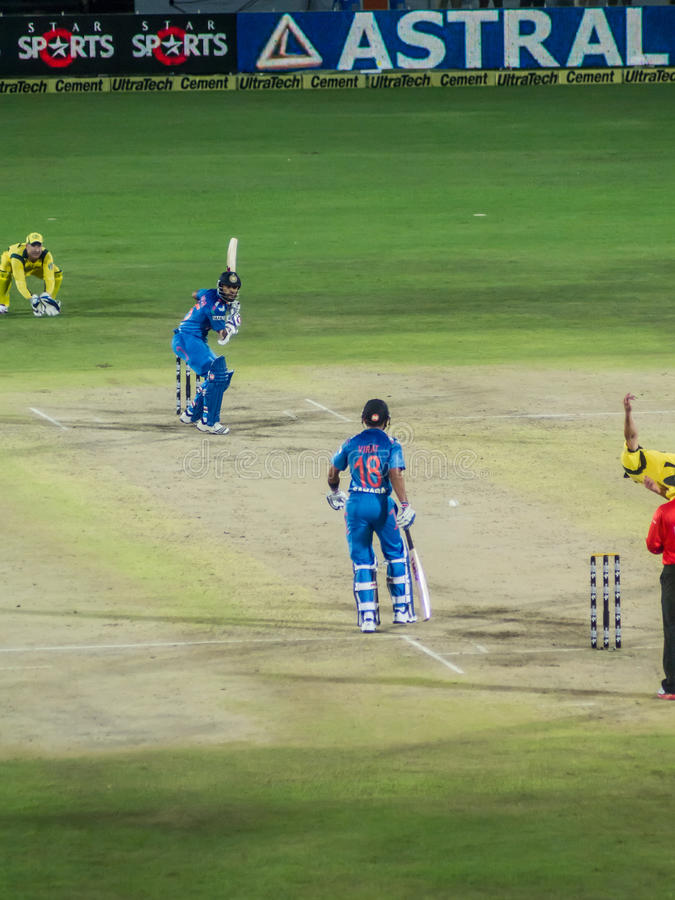 India versus Australia T20 cricket. A scene from the T20 international cricket match played at Rajkot between India and Australia stock photography