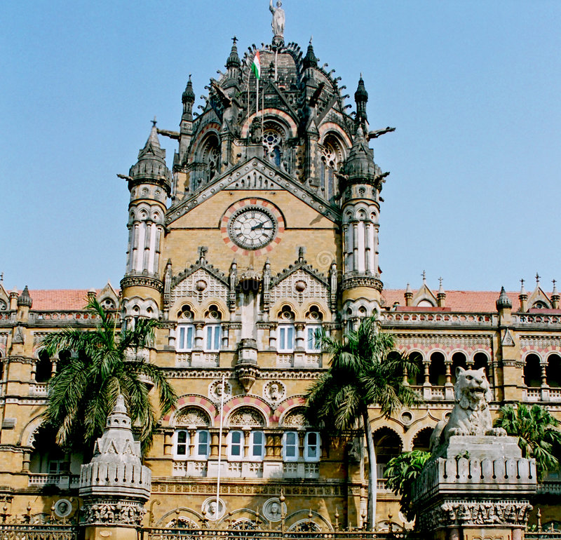 India, Victoria train station. stock photography