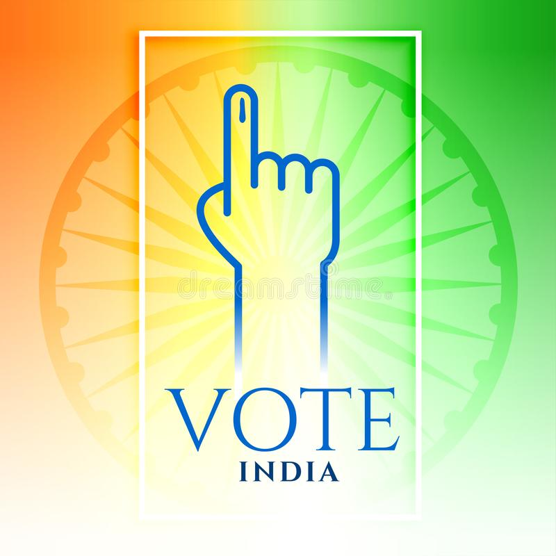 India vote hand with tricolor background. Vector royalty free illustration