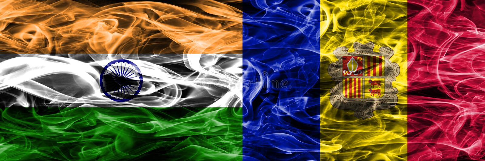 India vs Andorra smoke flags placed side by side.  stock illustration