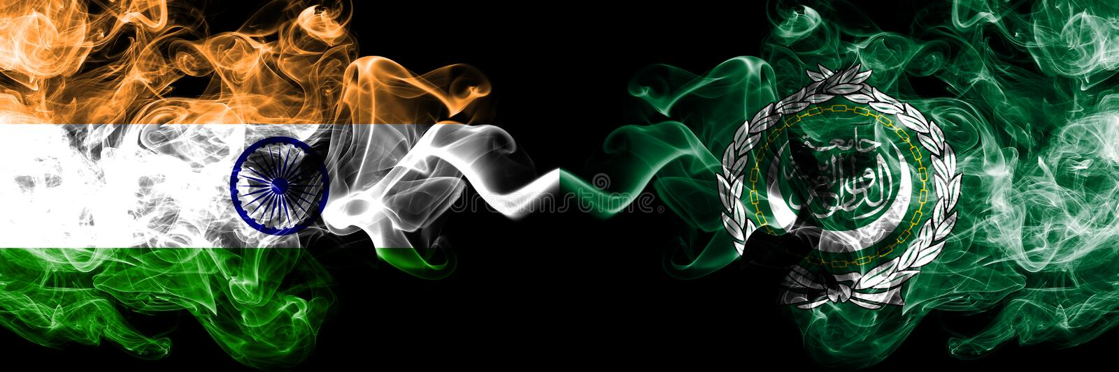 India vs Arab League smoke flags placed side by side. Thick colored silky smoke flags of Indian and Arab League stock photos