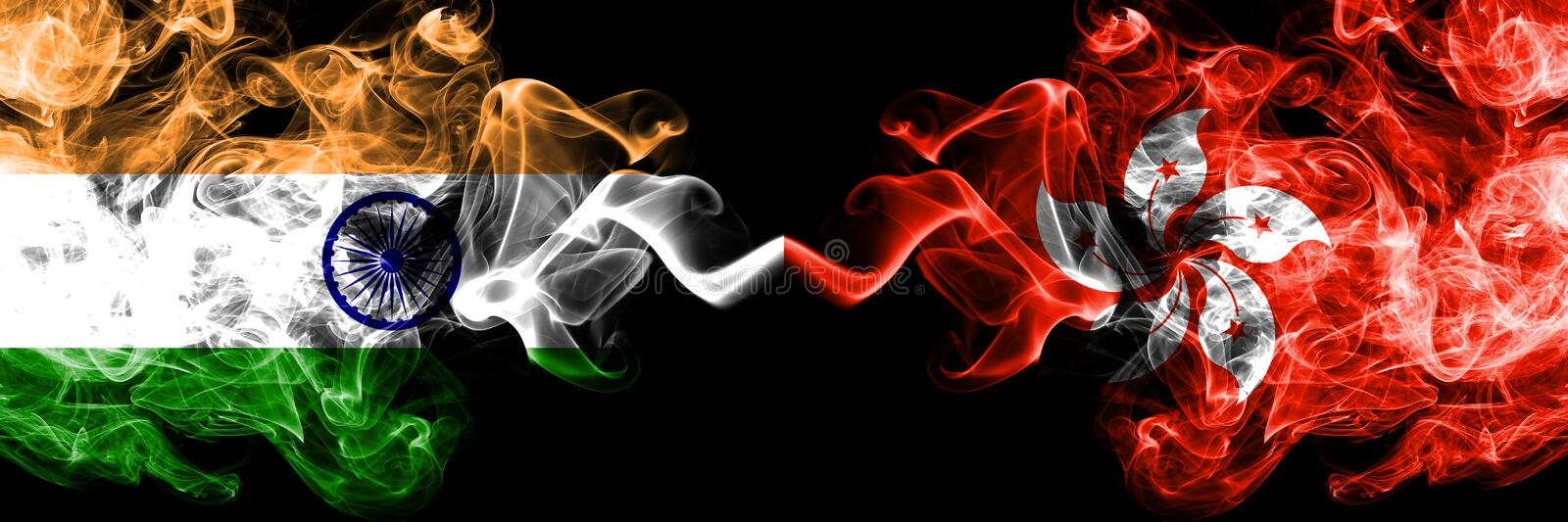 India vs Hong Kong, China smoke flags placed side by side. Thick colored silky smoke flags of Indian and Hong Kong, China royalty free stock images