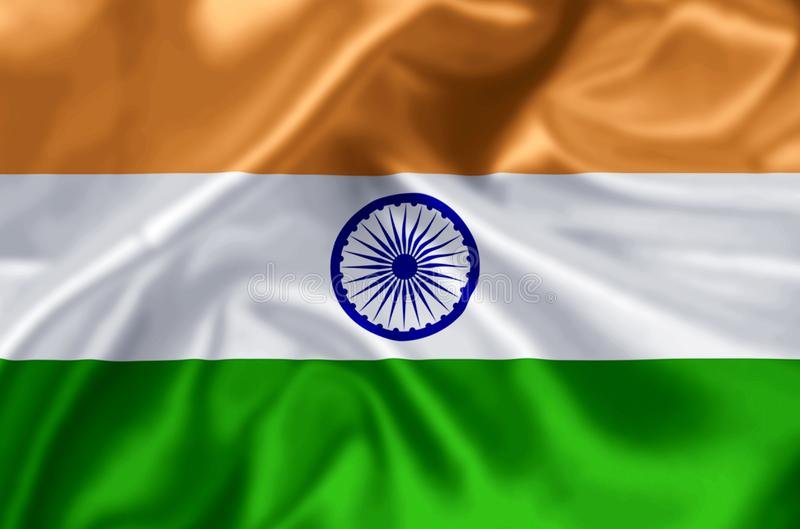 India flag illustration. India waving and closeup flag illustration. Perfect for background or texture purposes stock illustration