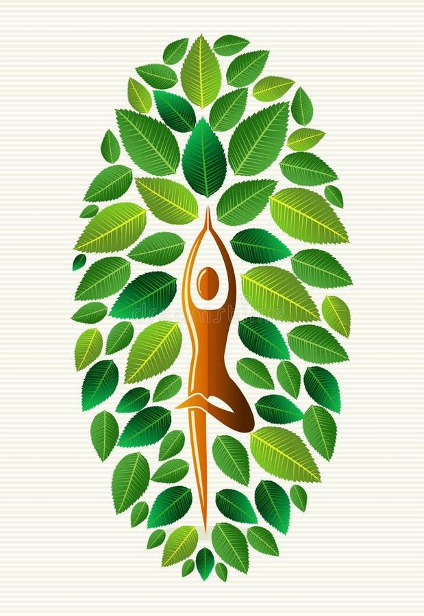India yoga leaf tree vector illustration