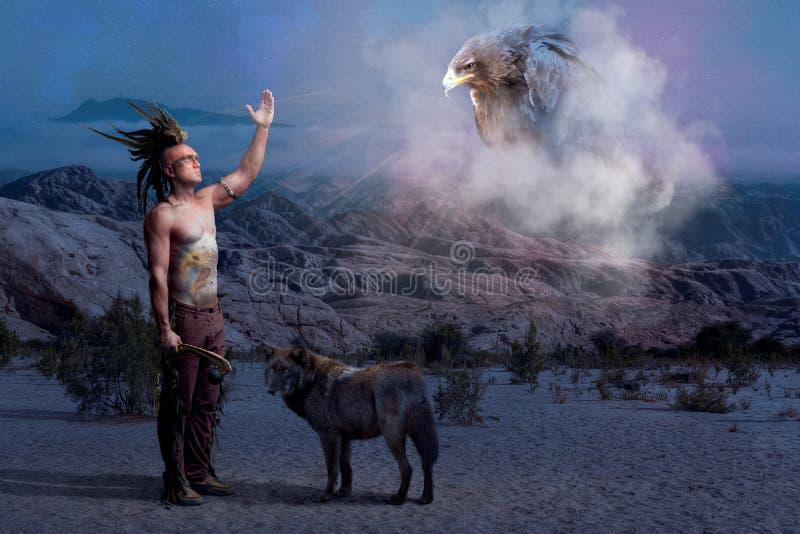 Indiaanlegende met wolf en adelaar royalty-vrije stock foto
