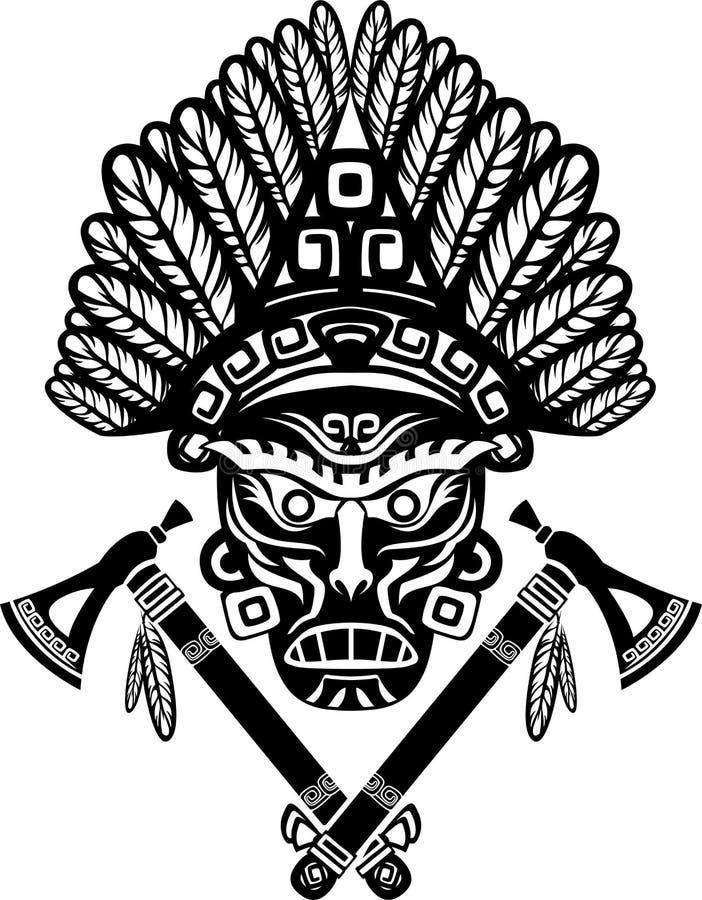Indiaanmasker met hoofddeksel vector illustratie