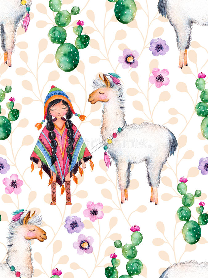 Indiaanmeisje in traditionele poncho en lama royalty-vrije illustratie