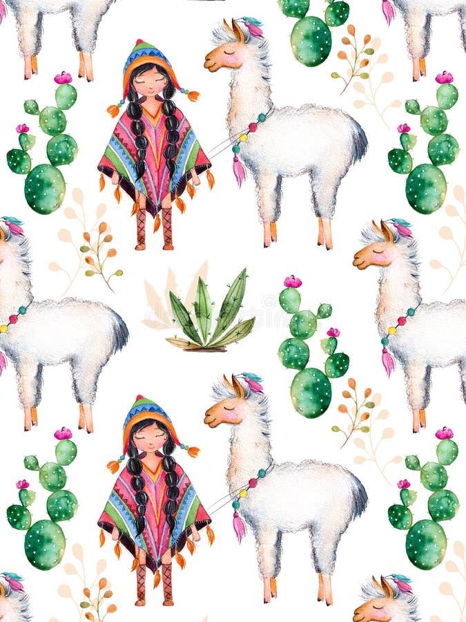 Indiaanmeisje in traditionele poncho en lama royalty-vrije illustratie