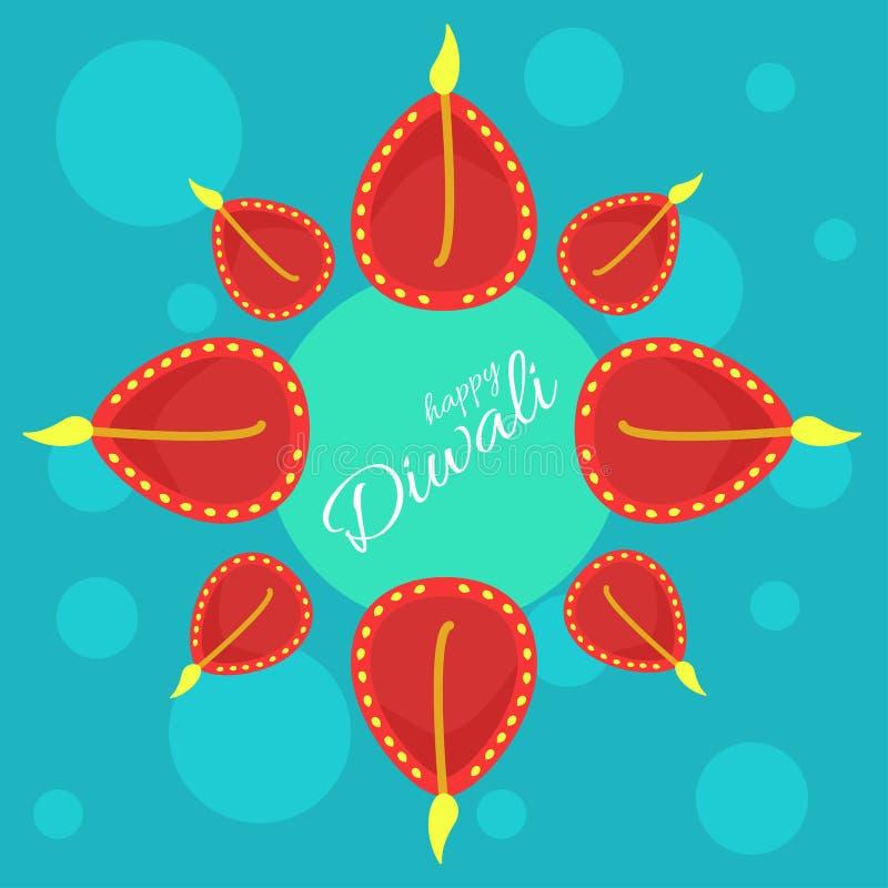 Indialfestival van lichten Vectoraffiche met gelukkige Diwali-groeten vector illustratie