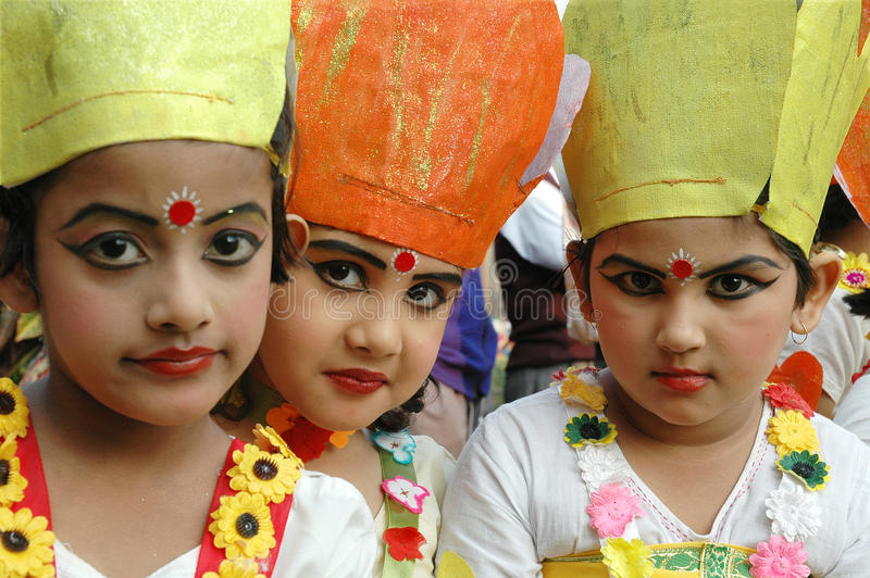 Indian Adolescents Dancer. December 25, 2010 Kolkata,West Bengal,India,Asia-Adolescents girls are ready for their dance performance at the flower festival in royalty free stock photography