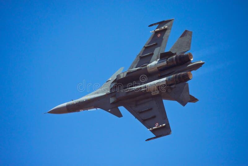 Indian Air Force Su-30 MKI flying at Aero India stock photo