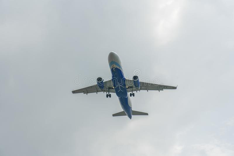 Indian airliner on final Approach into Changi stock image