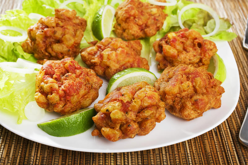 Indian Appetiser Onion Bhajis royalty free stock photography