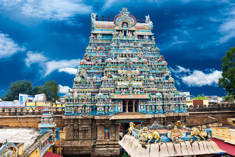 Indian architecture. Sri Ranganathaswamy Temple. Great South Indian architecture. Sri Ranganathaswamy Temple over blue sky. South India, Tamil Nadu, Thanjavur ( royalty free stock image