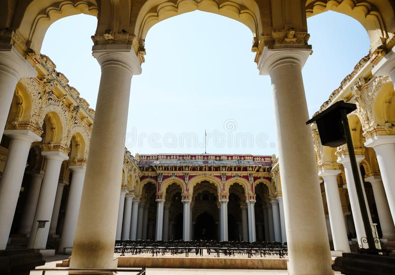 Indian architecture Thirumalai Nayakkar Mahal palace in Madurai. Photo of Indian architecture Thirumalai Nayakkar Mahal palace in Madurai royalty free stock images
