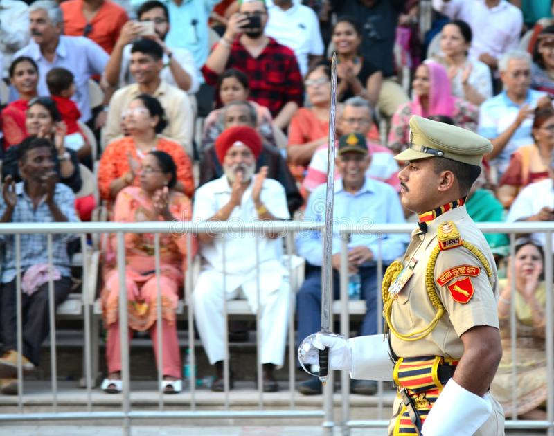 Indian Army General at Wagha Border, Amritsar royalty free stock photo