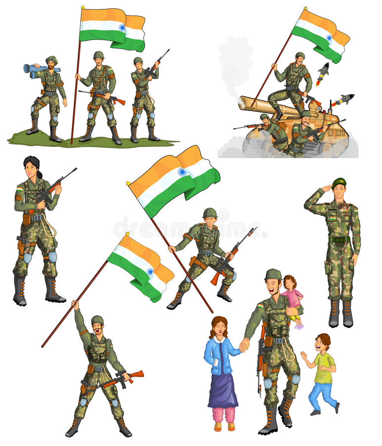 Indian army showing victory of India royalty free illustration