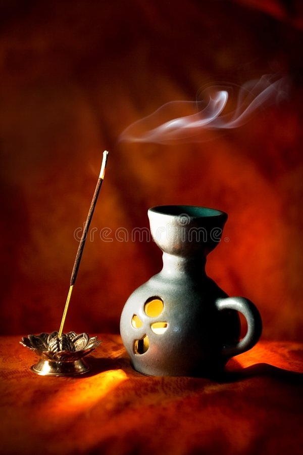 Download Indian Aroma Lamp With Incense Stick And Smoke Stock Image - Image: 7234955