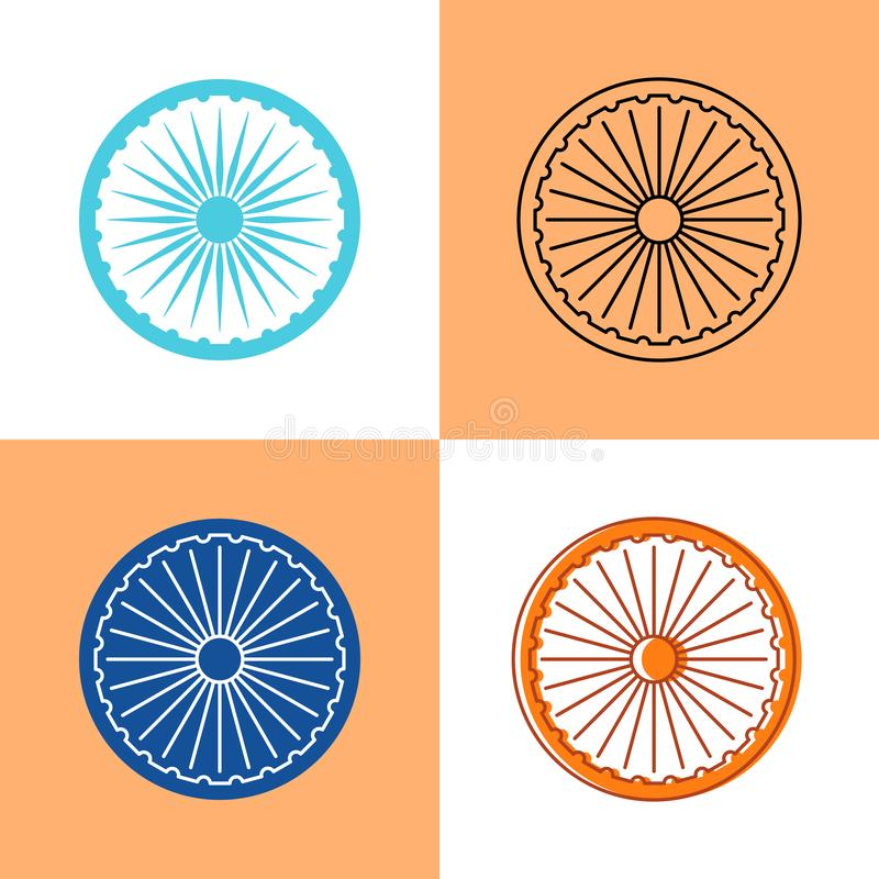 Indian Ashoka Chakra icon set in flat and line styles vector illustration