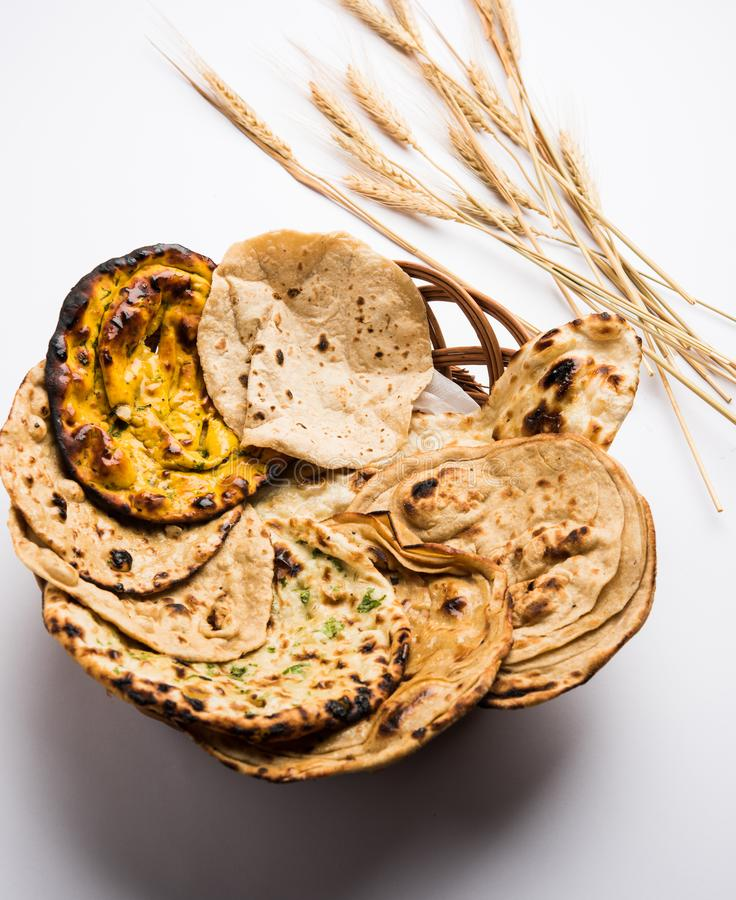 Indian assorted bread basket selective focus royalty free stock photos
