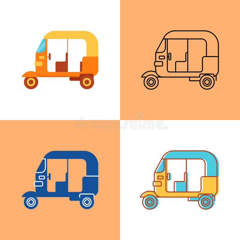 Indian auto rickshaw icon set in flat and line style vector illustration