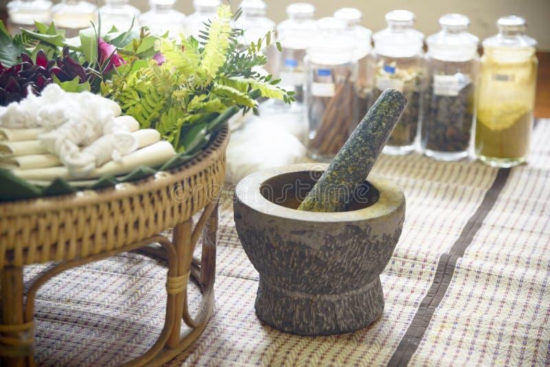 Indian Ayurvedic medicine, herbs and roots. Herbal Bag Massage. Ayurvedic indian medicine, herbs and roots. Herbal Bag Massage stock photography