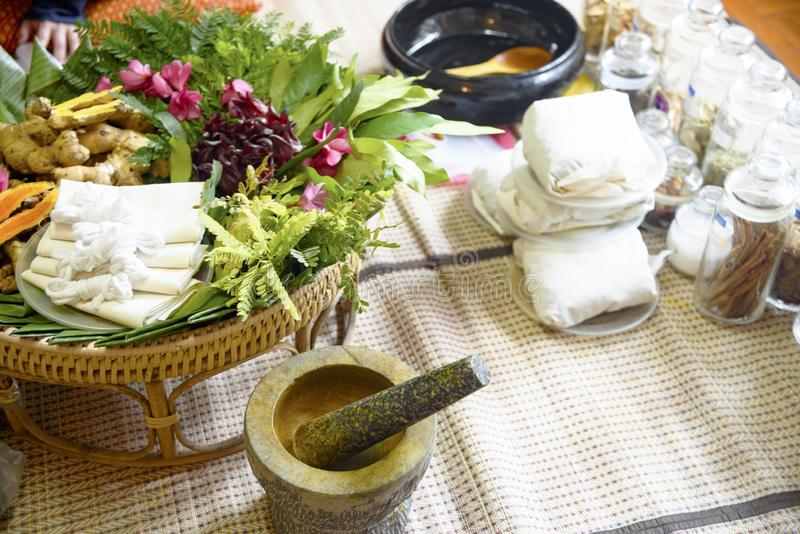 Indian Ayurvedic medicine, herbs and roots. Herbal Bag Massage. Ayurvedic indian medicine, herbs and roots. Herbal Bag Massage stock image