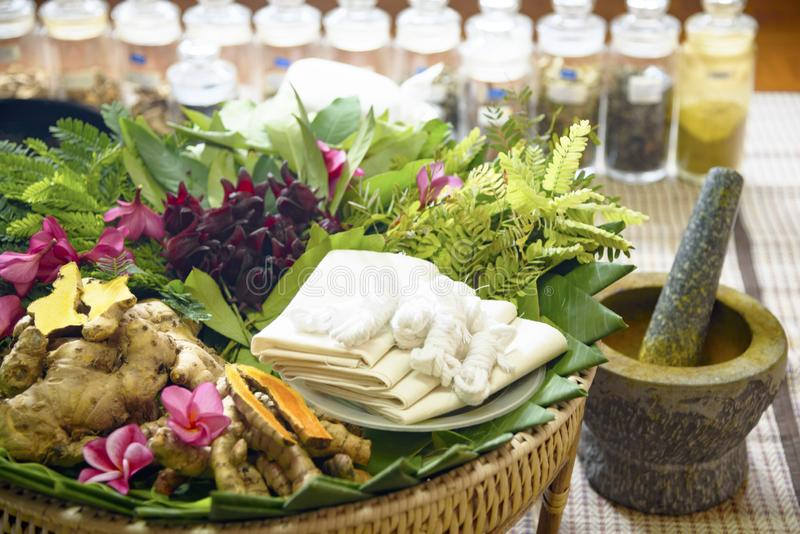 Indian Ayurvedic medicine, herbs and roots. Herbal Bag Massage. Ayurvedic indian medicine herbs and roots. Herbal Bag Massage stock photos