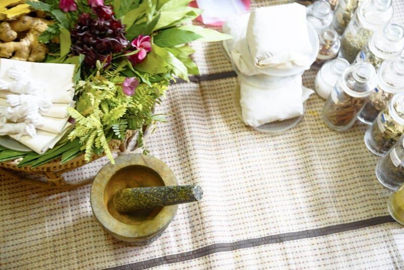 Indian Ayurvedic medicine, herbs and roots. Herbal Bag Massage. Ayurvedic indian medicine herbs and roots. Herbal Bag Massage royalty free stock photo