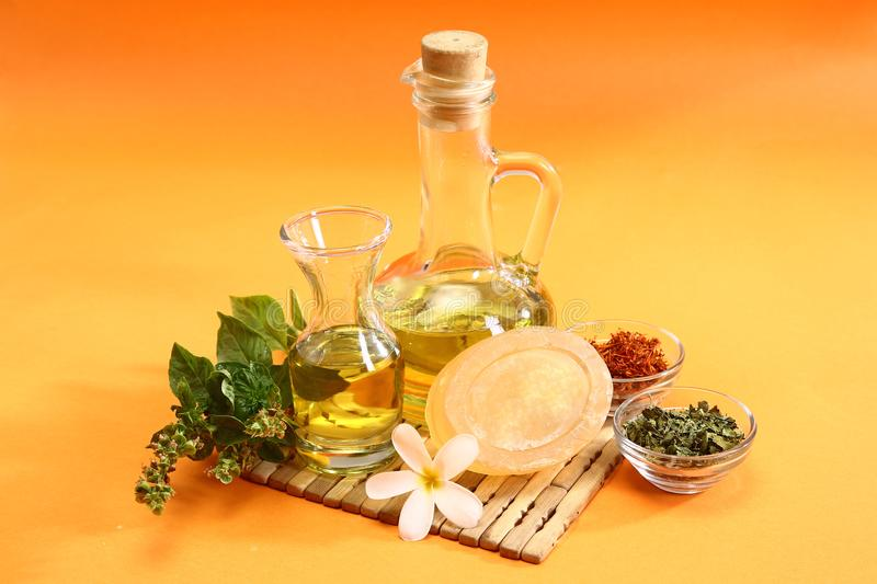 Indian Ayurvedic Soap or Handmade soap with Herbs.  stock photo